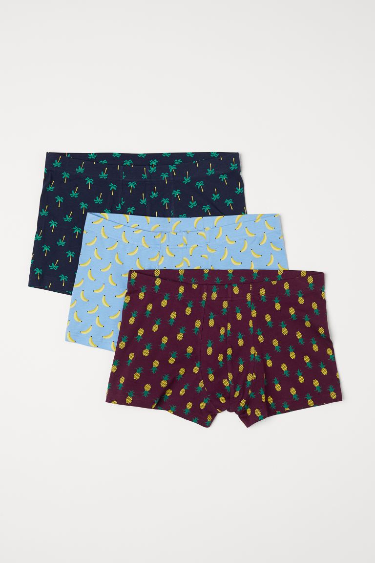 3-pack short trunks - Light blue/Bananas - Men | H&M