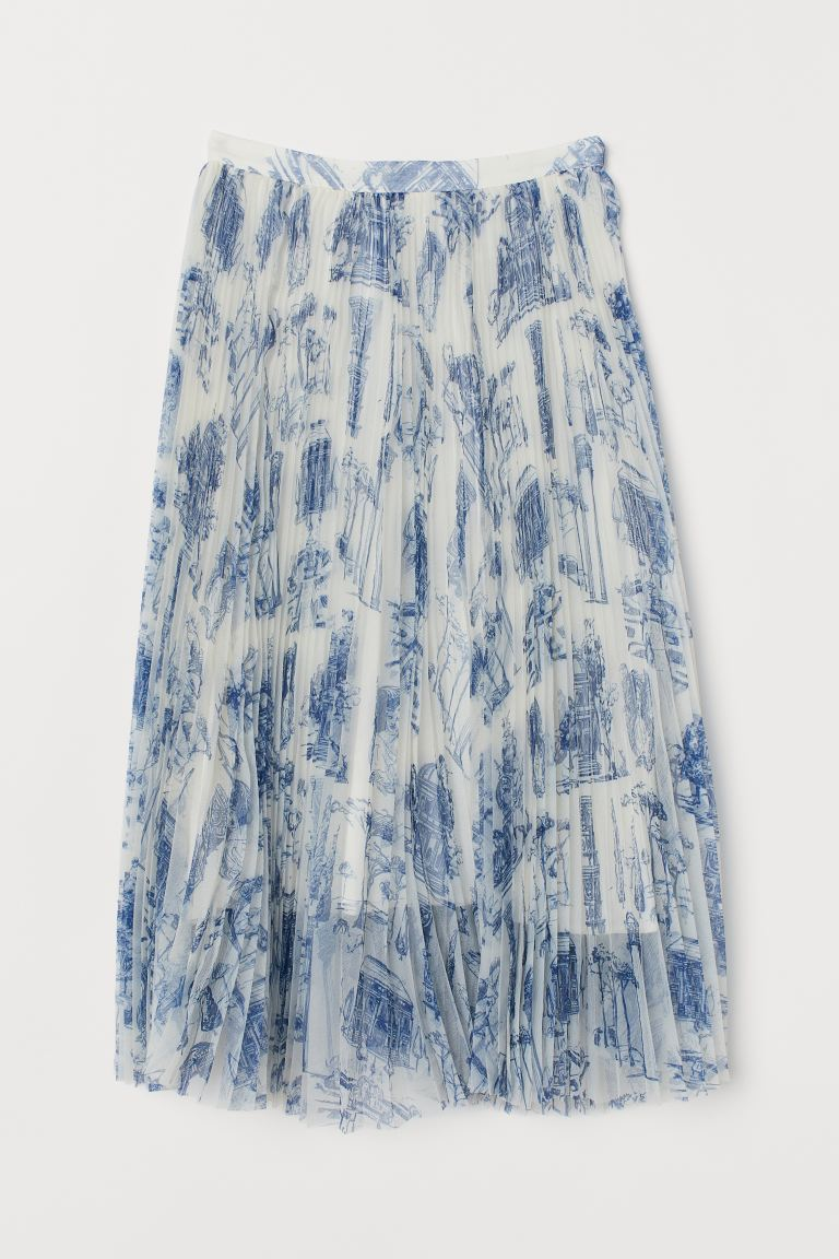 Pleated skirt - White/Blue patterned - Ladies | H&M GB