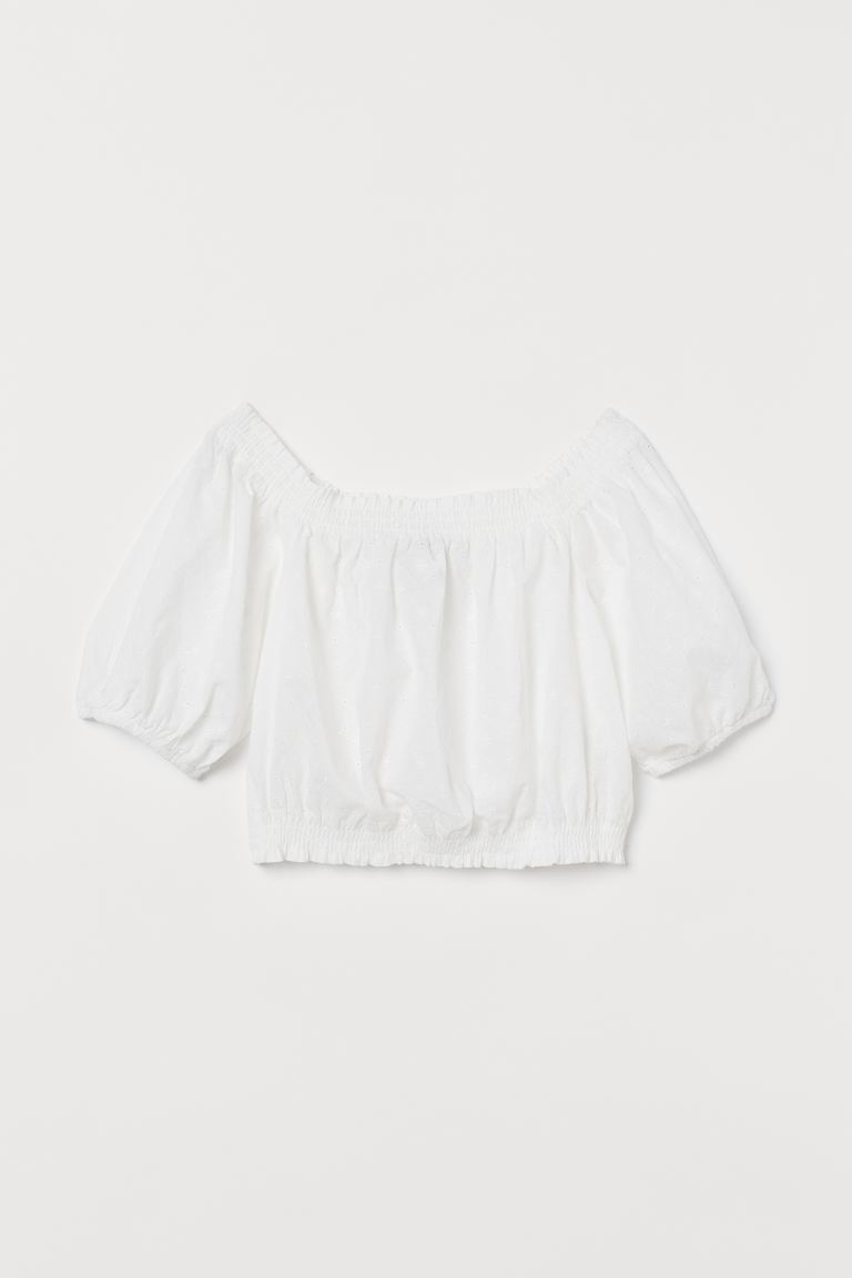 Off-Shoulder-Bluse - Weiß - Ladies   H&M DE