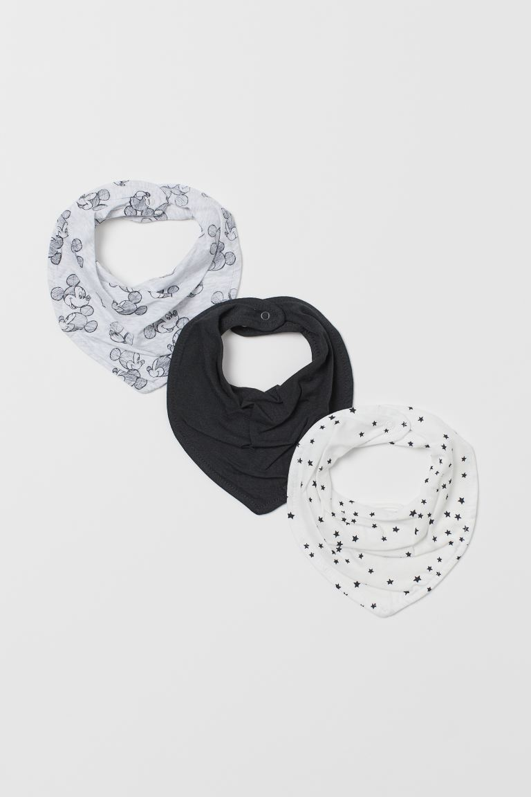 3-pack pañuelos triangulares - Gris jaspeado/Mickey Mouse - Kids | H&M MX