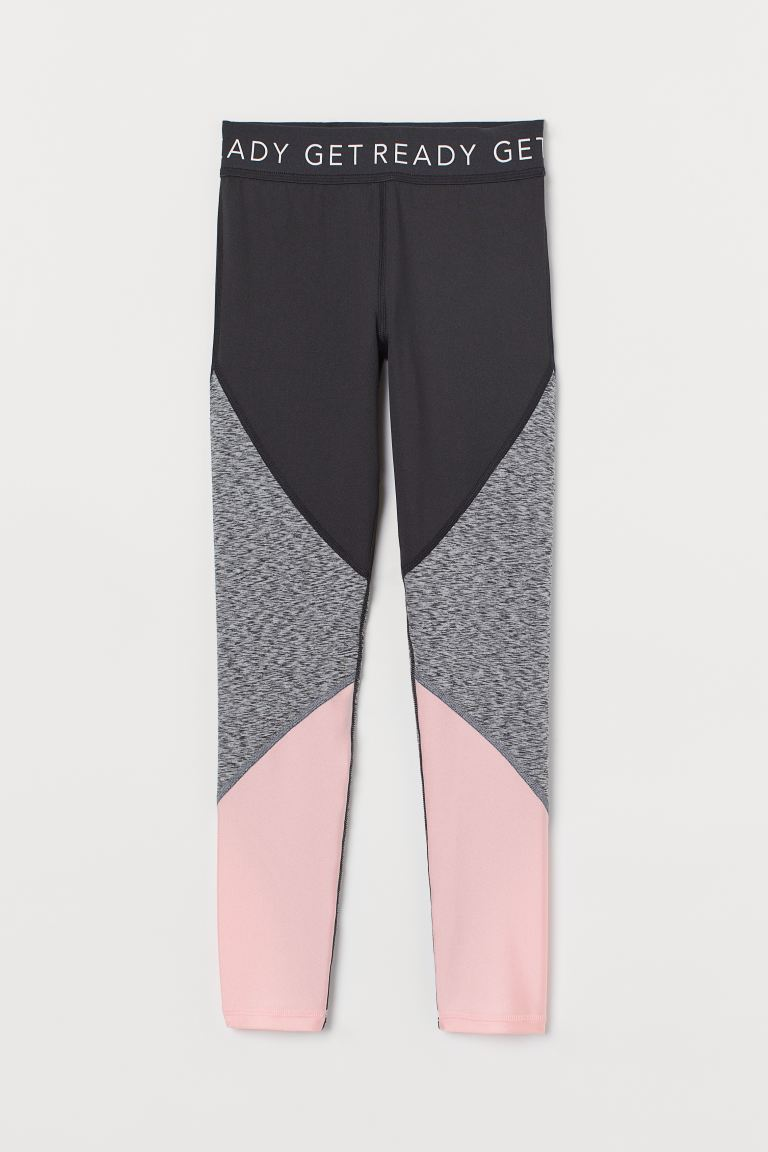 Sports tights - Black/Coral pink - Kids | H&M