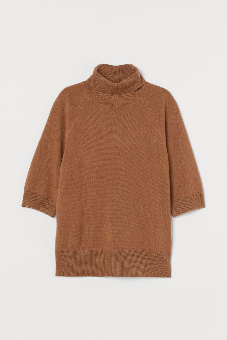 Cashmere polo-neck jumper - Camel - Ladies | H&M GB