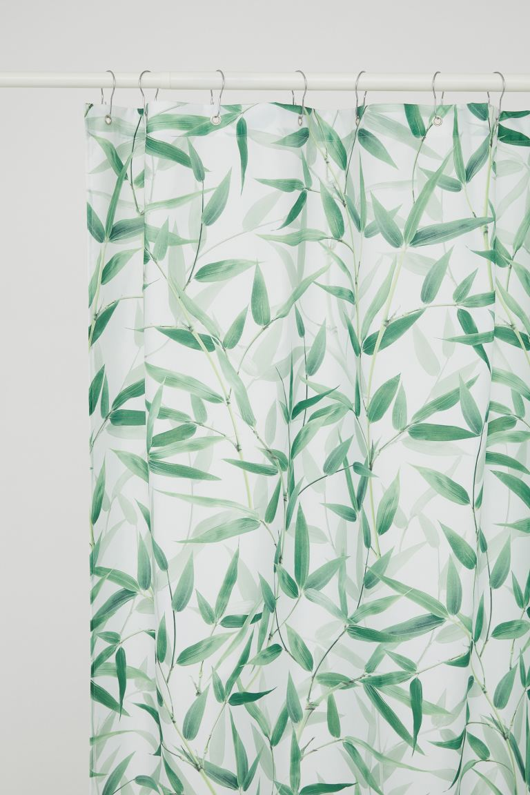Photo-print Shower Curtain - White/leaf-patterned - Home All | H&M CA
