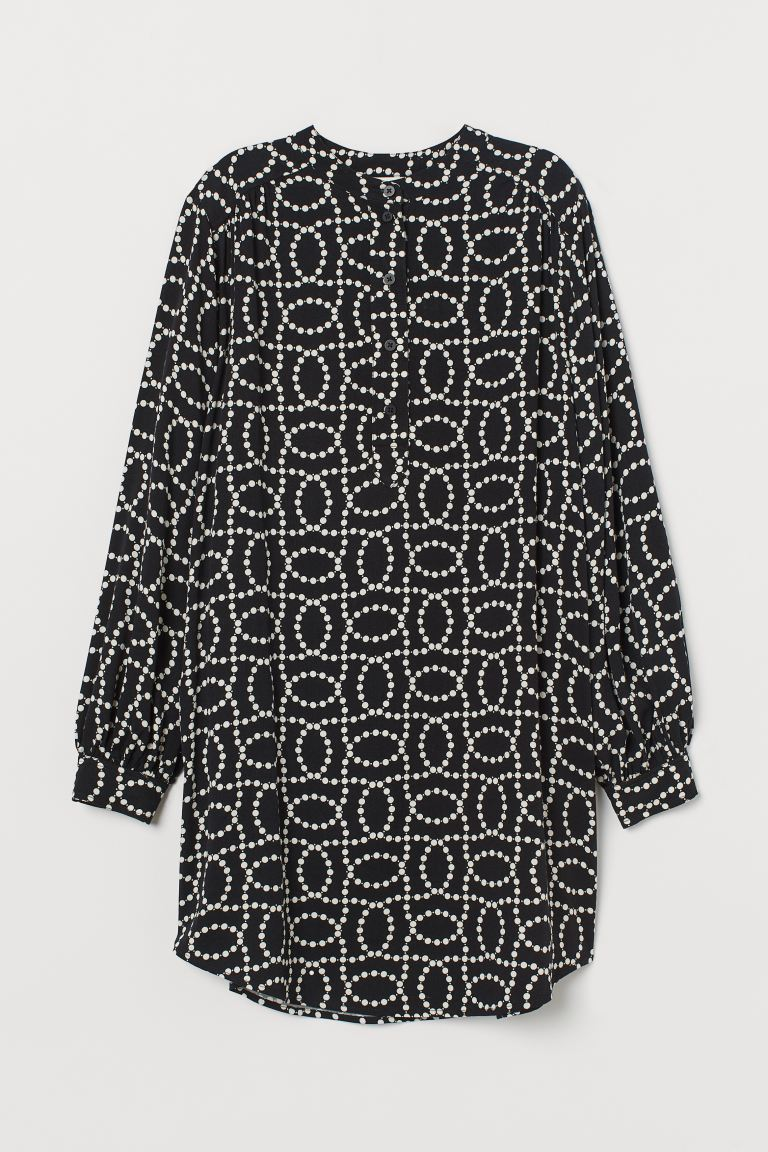 Balloon Sleeve Dress - Black/White pattern - Ladies | H&M AU