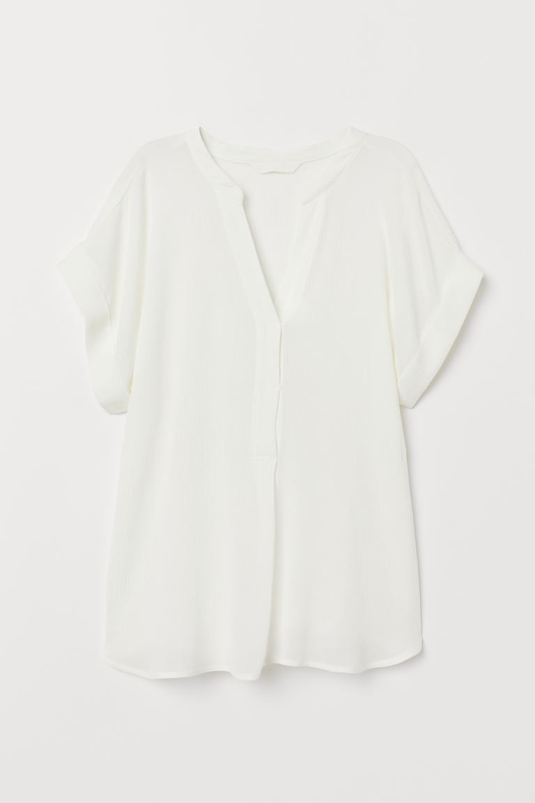 Crinkled blouse - White - Ladies | H&M IE