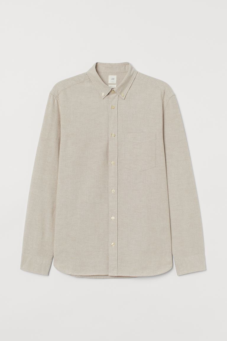 Oxford shirt Regular Fit - Light beige - Men | H&M GB