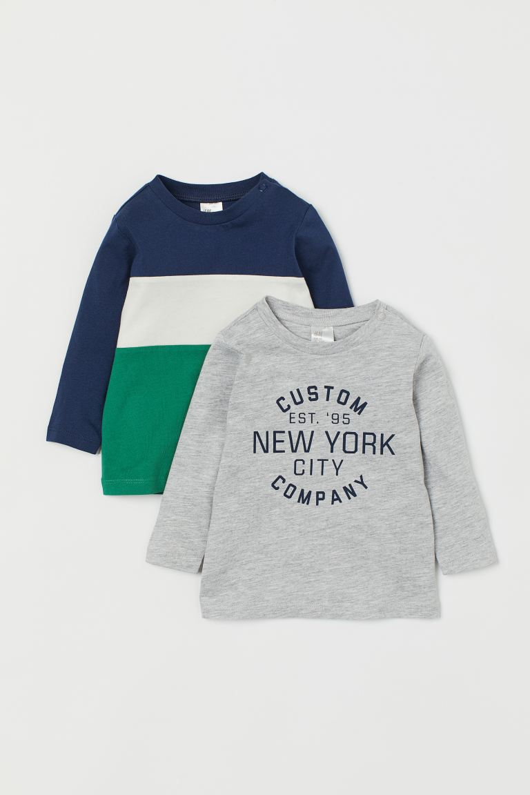 2-pack Jersey Shirts - Green/color-block - Kids | H&M US