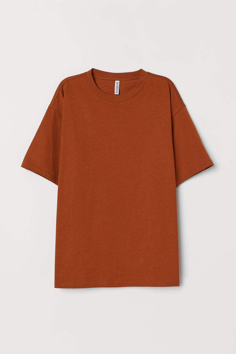 Wide-cut Cotton T-shirt - Rust brown - Ladies | H&M US