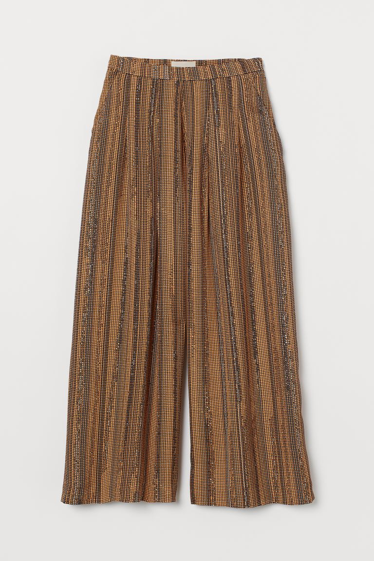 Wide-leg Pants - Orange/black patterned - Ladies | H&M US