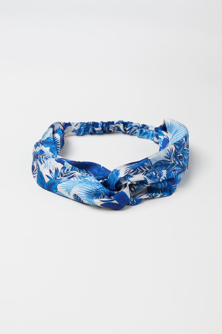 Hairband with Knot Detail - White/blue patterned - Ladies | H&M US