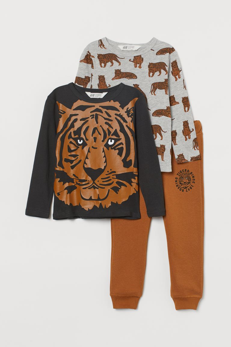 3-piece Jersey Set - Brown/Tigers - Kids | H&M CA
