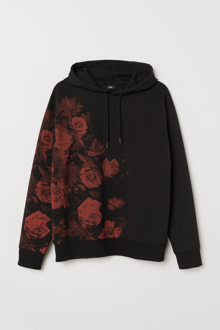 Printed Hoodie - Black/roses - Men | H&M US