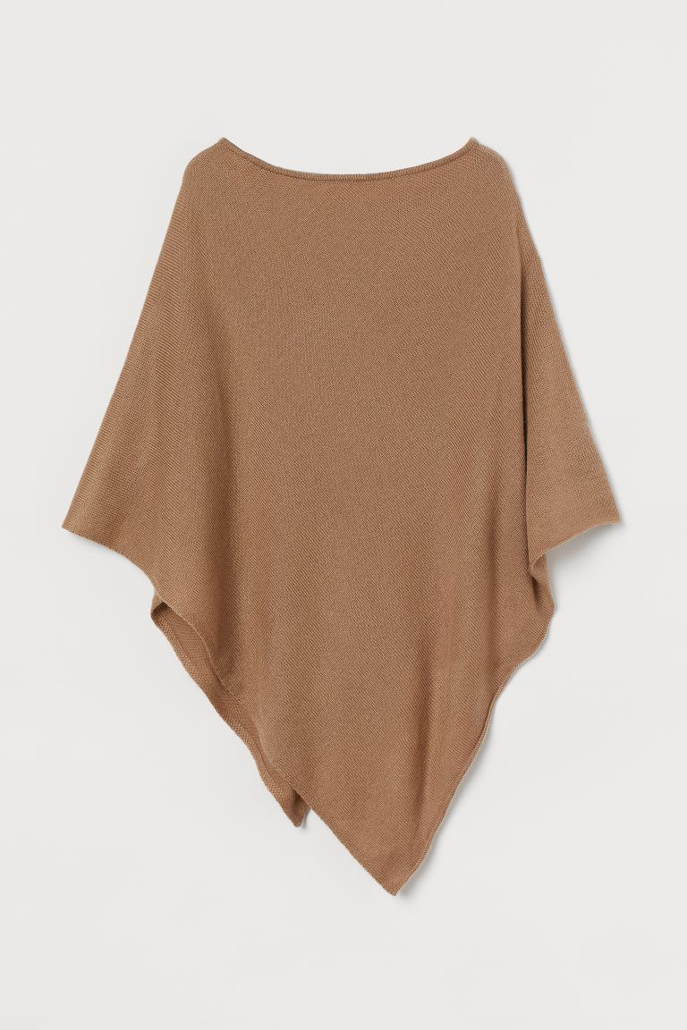 Knit Poncho - Dark beige - Ladies | H&M US