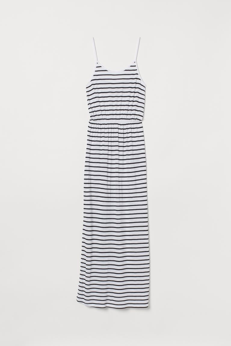 Maxi dress - White/Dark blue striped - Ladies | H&M IN