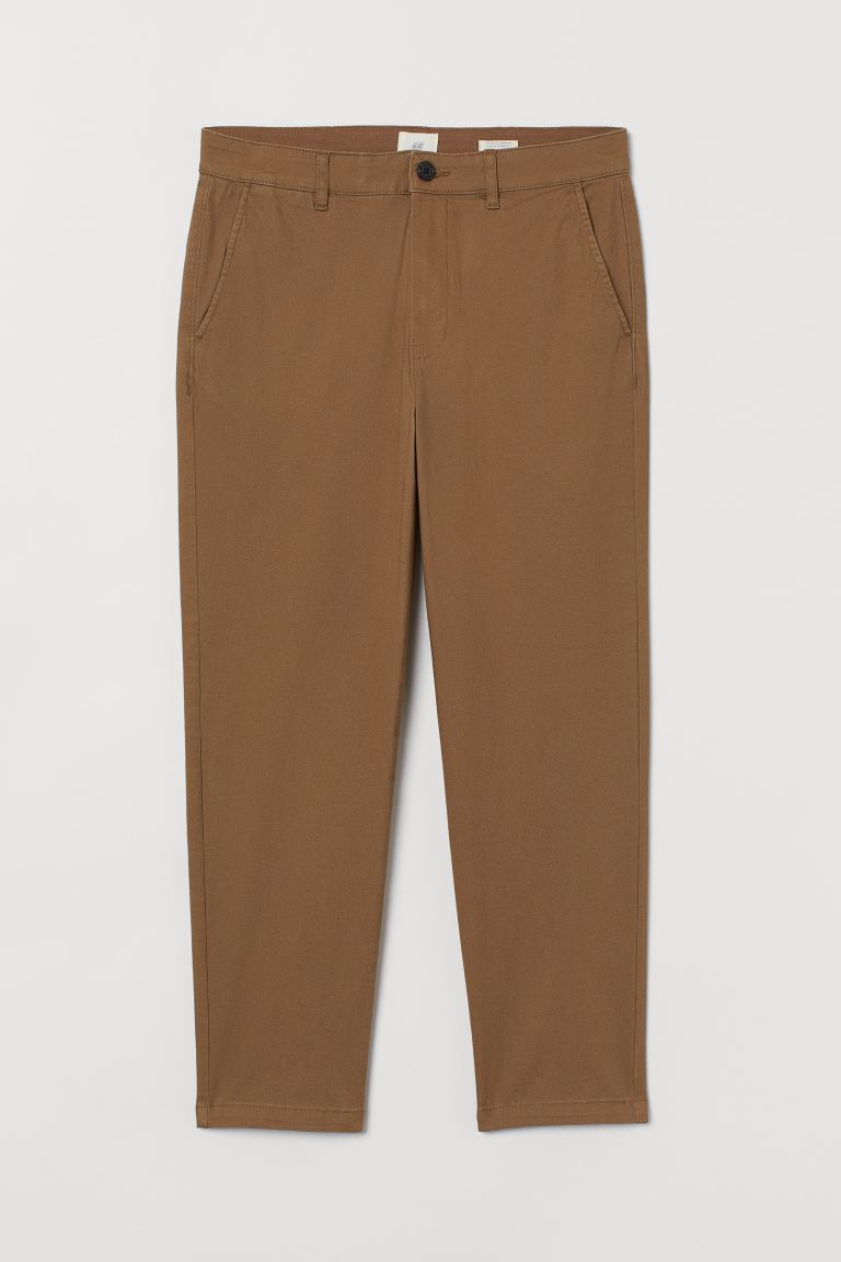 Slim Fit Cropped Chinos - Dark beige - Men | H&M US