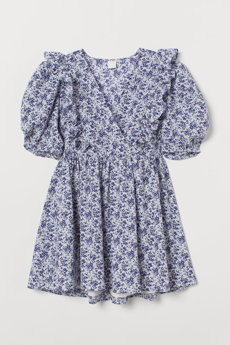 Puff-sleeved dress - White/Blue floral - Ladies | H&M GB