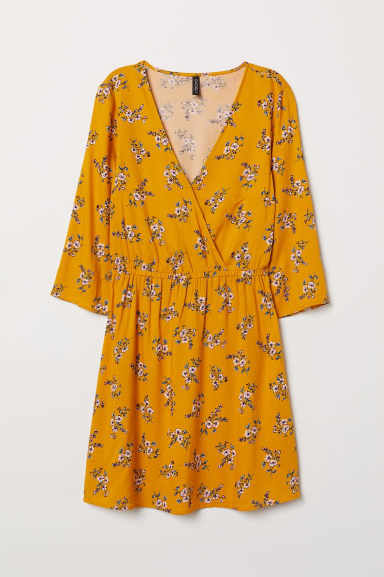 V-neck Wrap Dress - Yellow/floral - Ladies | H&M CA