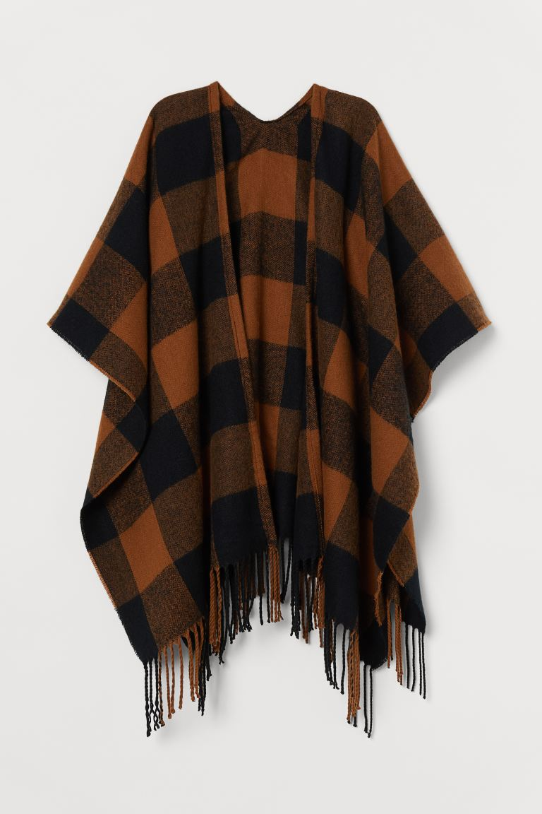 Poncho con bordo a frange - Marrone chiaro/nero quadri - DONNA | H&M IT