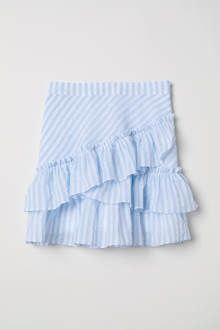 Skirt - Light blue/White striped - Ladies | H&M GB
