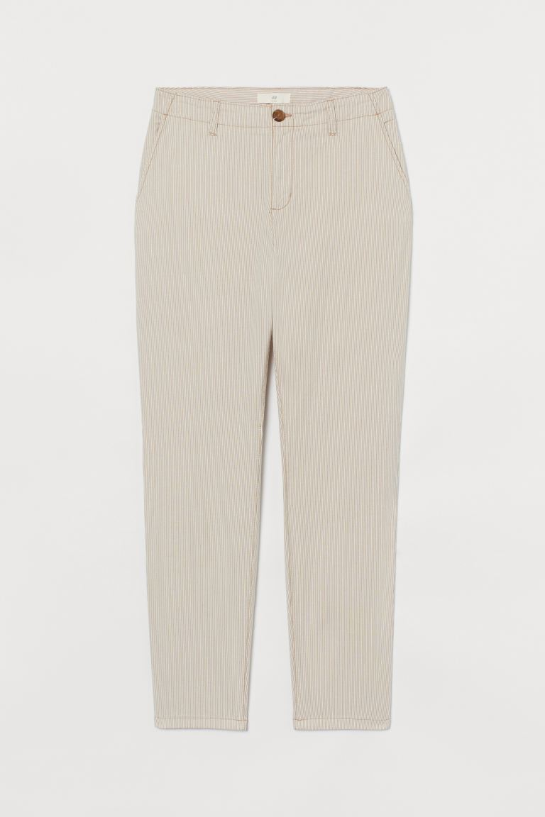 Chinos in cotone - Beige/bianco righe - DONNA | H&M CH