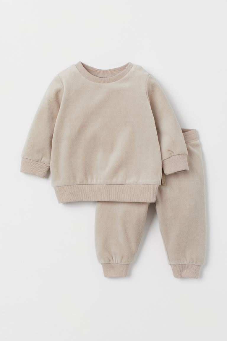 2-piece Velour Set - Beige - Kids | H&M US