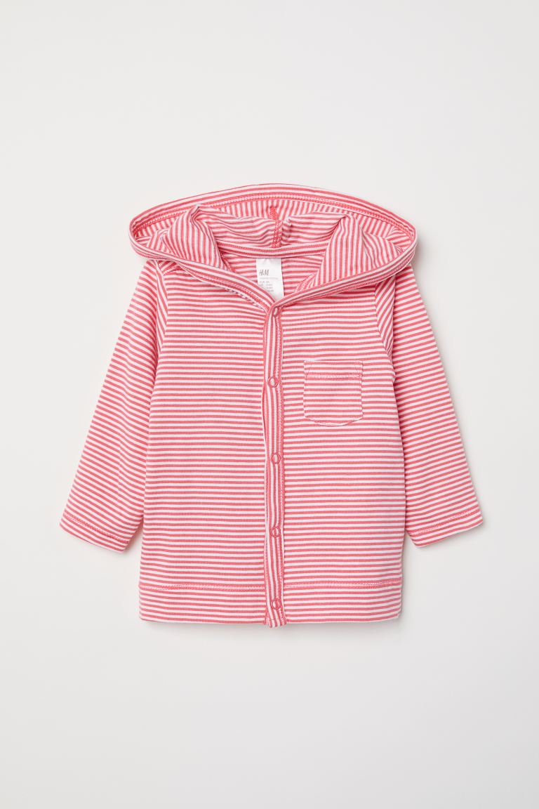 Jersey hooded cardigan - White/Pink striped - Kids | H&M