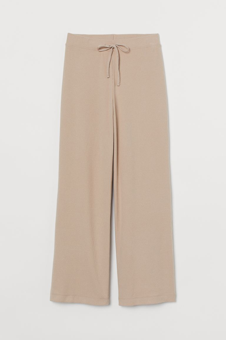 Ribbed trousers - Light beige - Ladies | H&M
