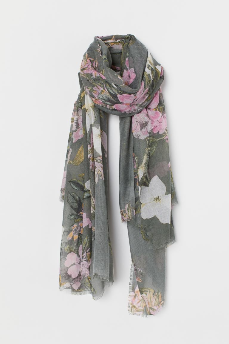 Airy Scarf - Gray/floral - Ladies | H&M US
