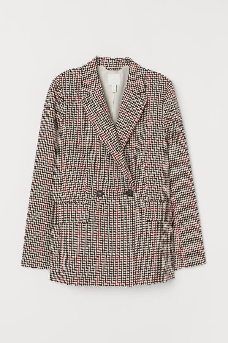 Double-breasted Jacket - Beige/checked - Ladies | H&M US