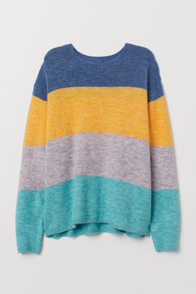 Fine-knit Sweater - Dark blue melange/color-block - Ladies | H&M US