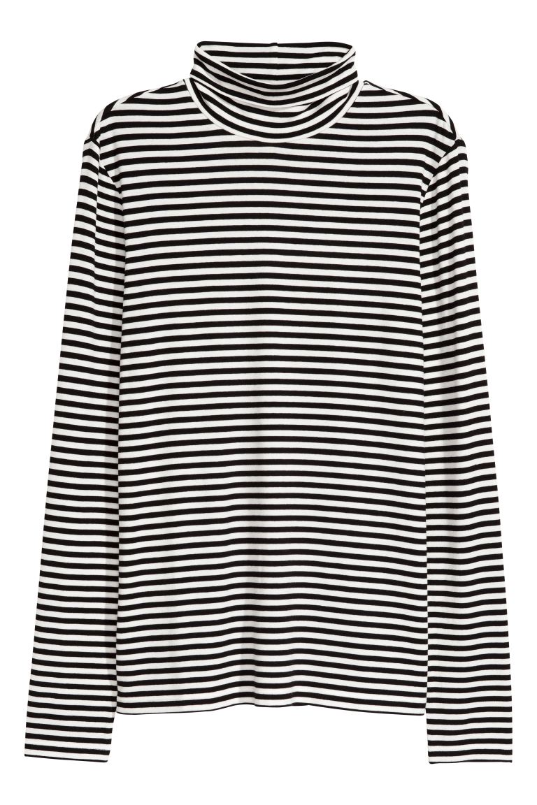 Polo-neck top - White/Black striped - Ladies | H&M GB