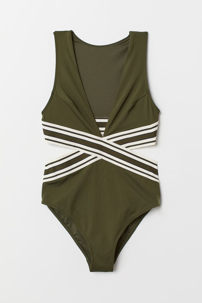 Cut-out swimsuit - Dark green/Natural white - Ladies | H&M GB