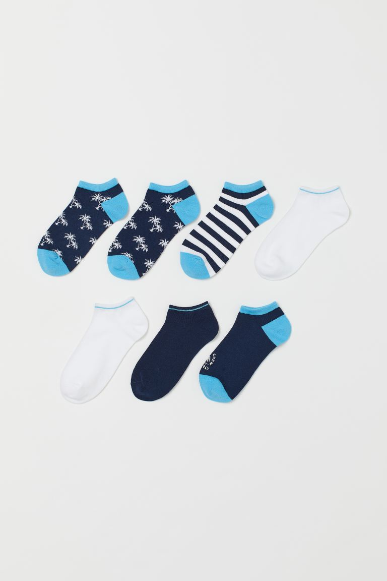 7-pack Ankle Socks - Blue/palm trees - Kids | H&M CA