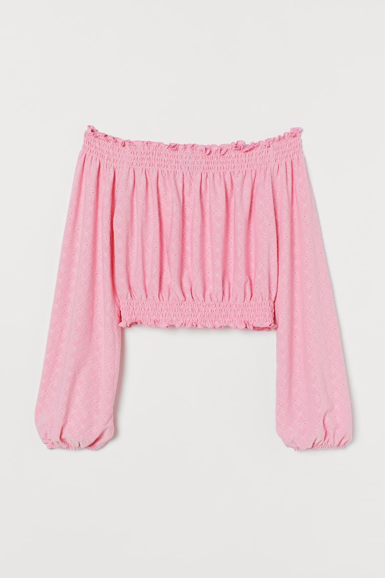 Off-the-shoulder top - Pink/Broderie anglaise - Ladies | H&M