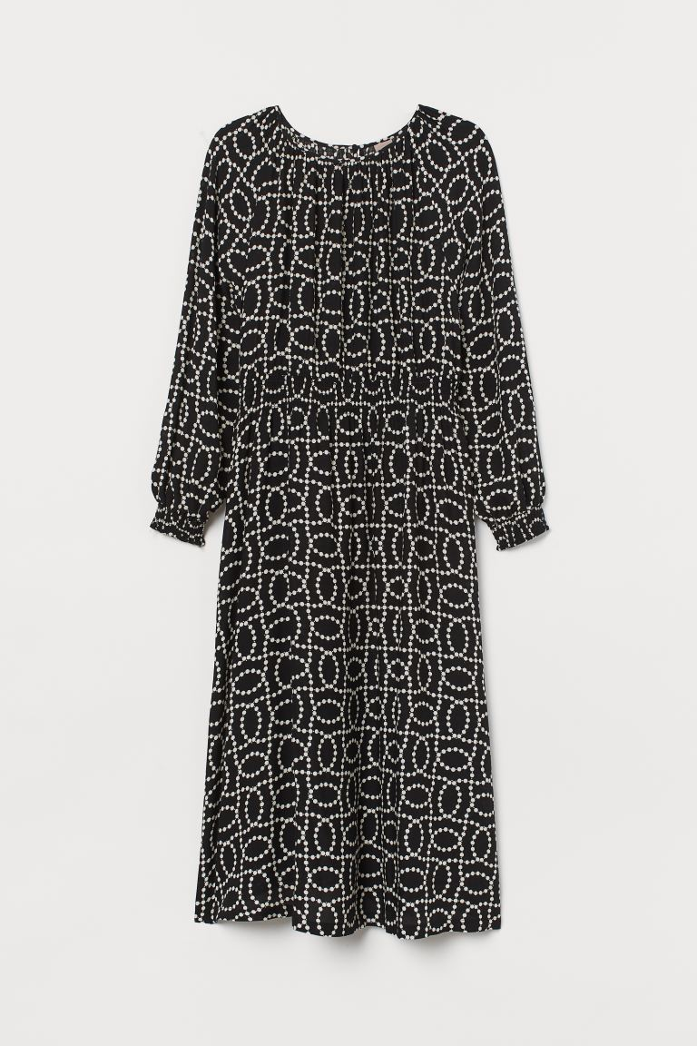 H&M+ Dress with smocking - Black/White patterned - Ladies | H&M IN