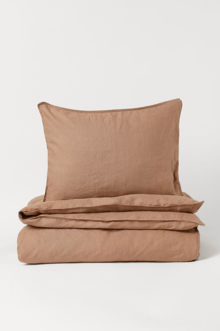 Washed linen duvet cover set - Mocha beige - Home All | H&M GB