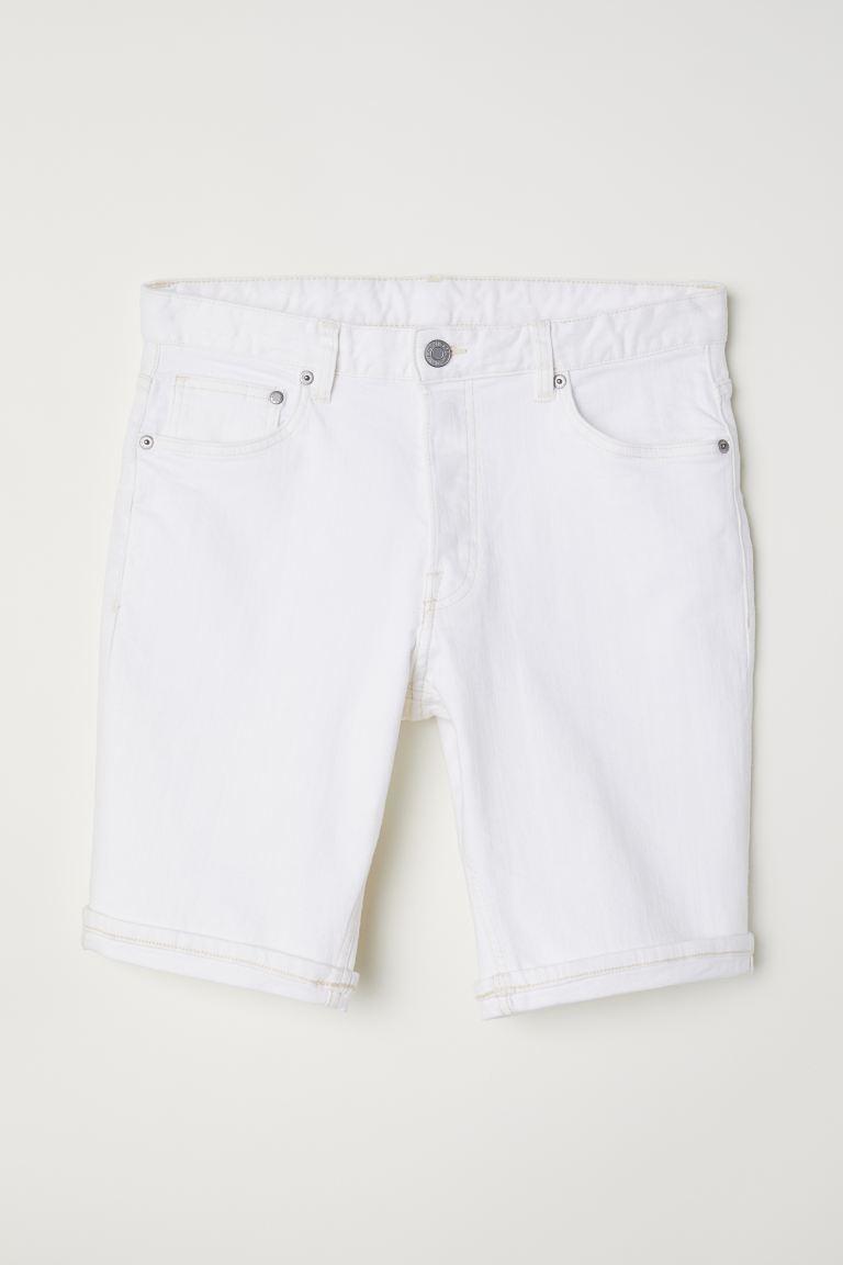 Denim Shorts Slim fit - White - Men | H&M US