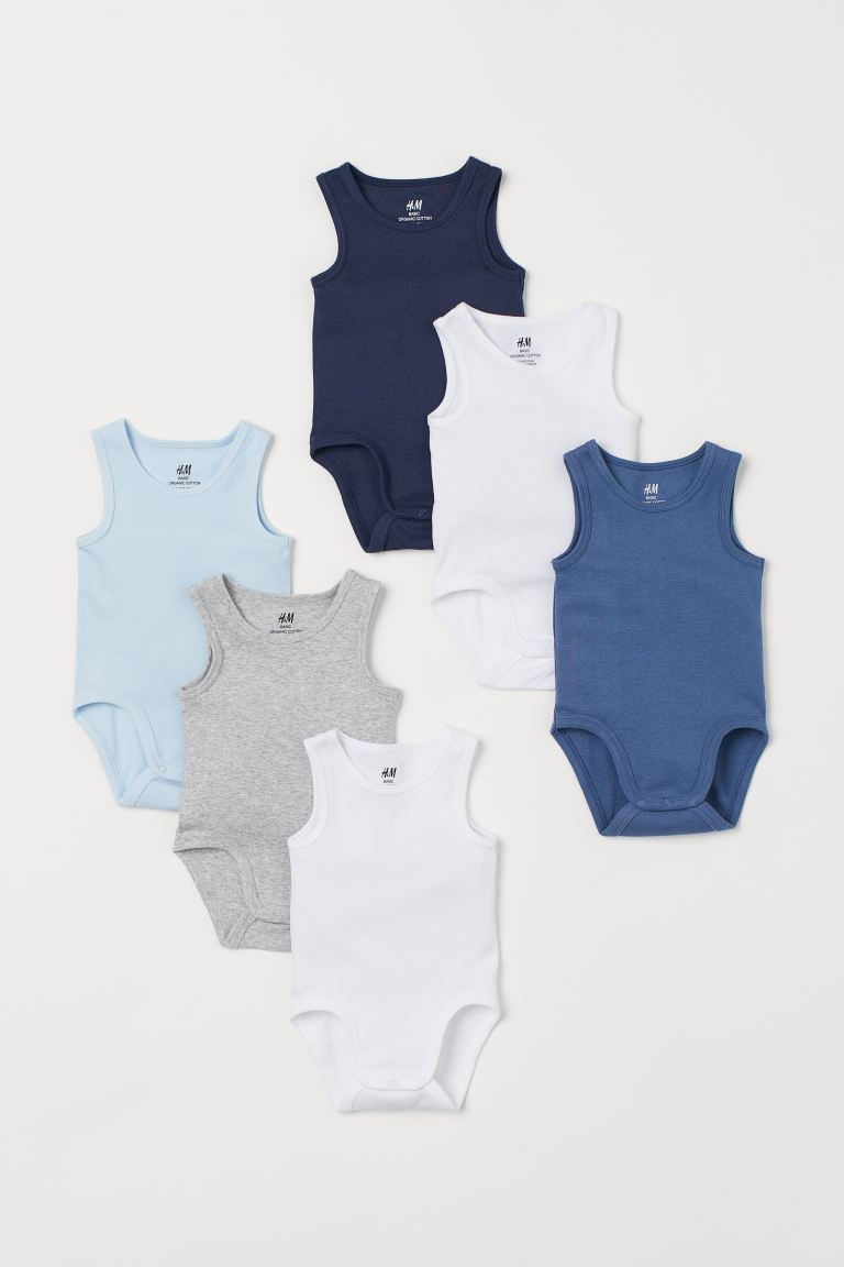 6-pack Sleeveless Bodysuits - Blue - Kids | H&M US