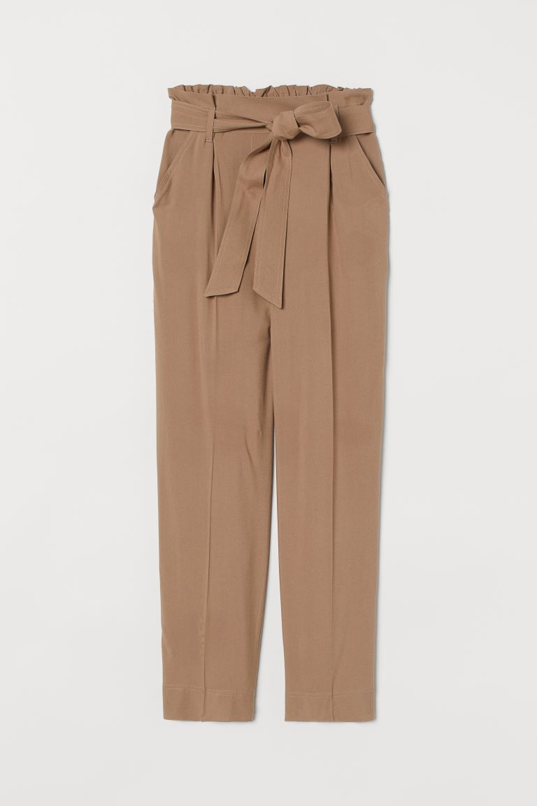 Paper bag trousers - Dark beige - Ladies | H&M GB