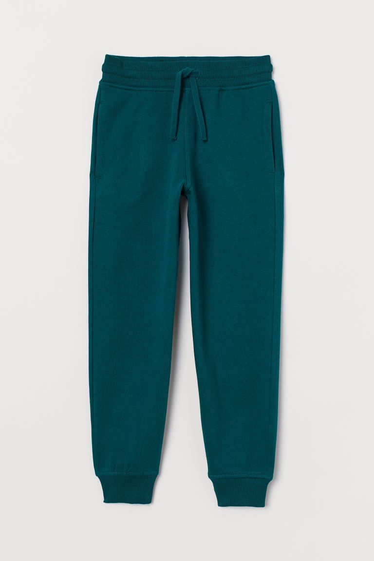 Cotton-blend joggers - Dark green - Kids | H&M GB