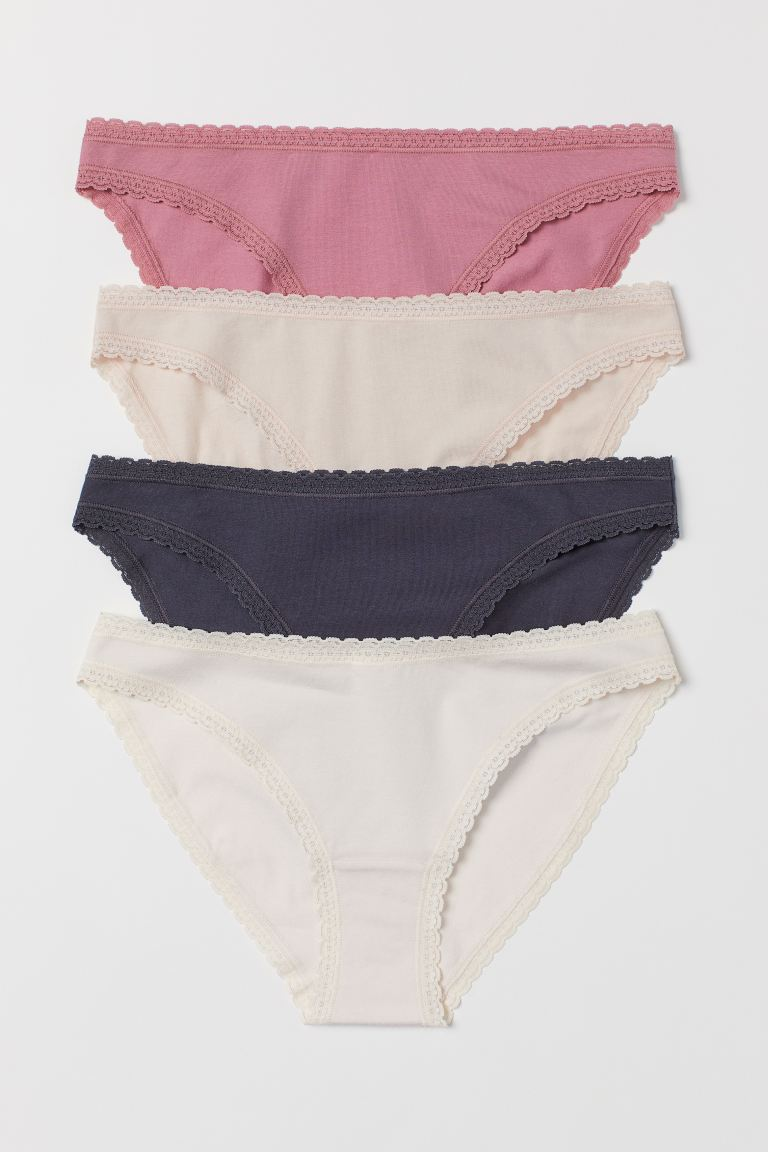 4-pack Cotton Bikini Briefs - Dark blue/powder pink - Ladies | H&M US