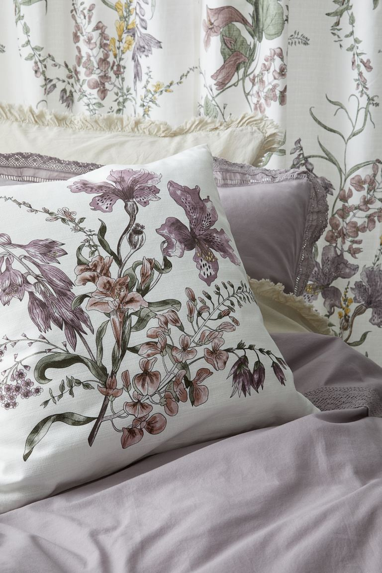 Printed cushion cover - White/Orchids - Home All | H&M IE