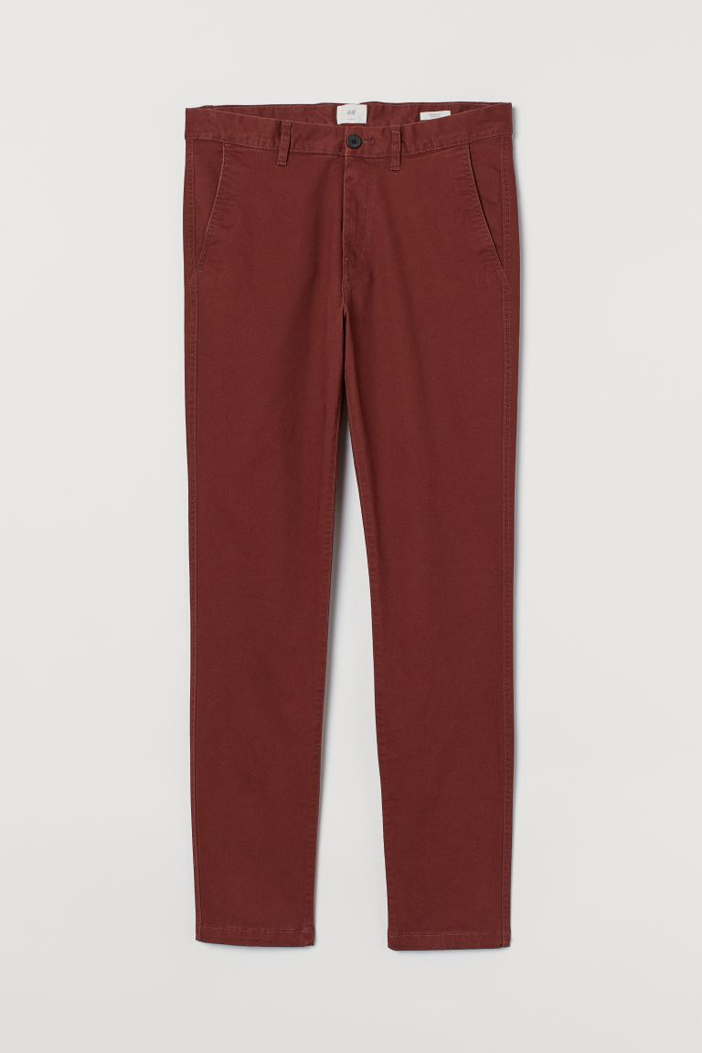 Cotton chinos Skinny Fit - Rust brown - Men | H&M