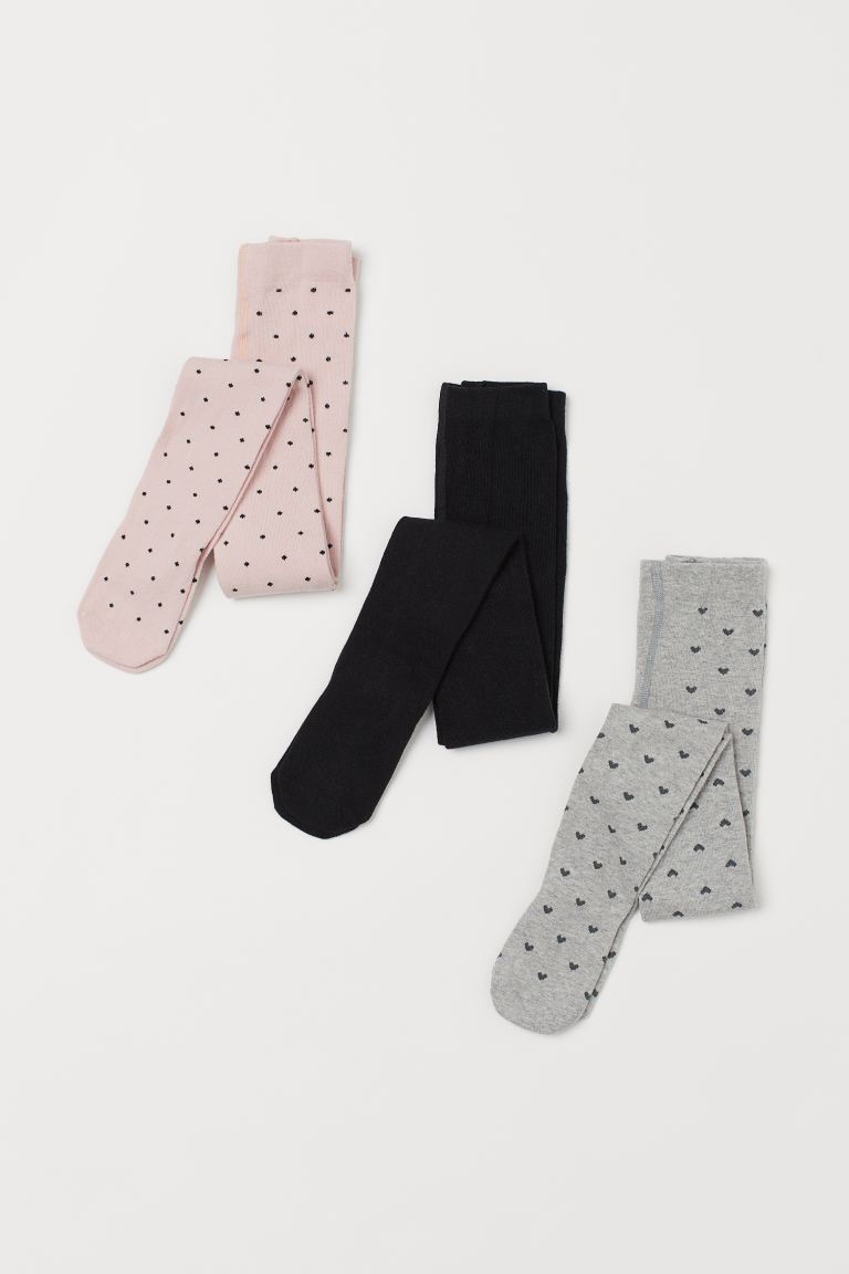 3-pack Tights - Light pink/hearts - Kids | H&M US