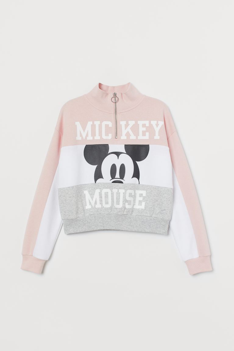Stand-up-collar Sweatshirt - Powder pink/Mickey Mouse - Kids | H&M US