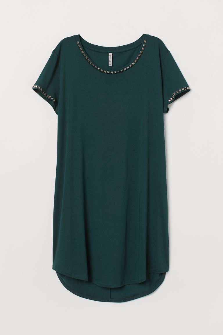 T-shirt Dress with Studs - Dark green - Ladies | H&M US