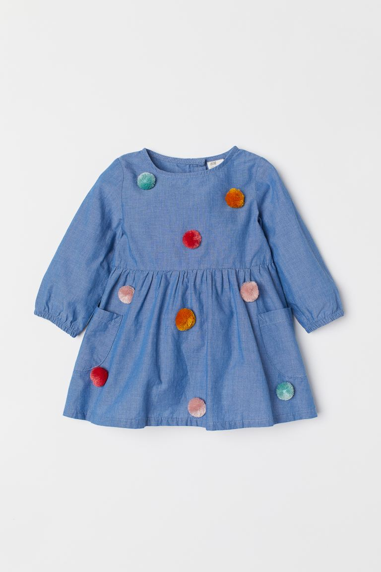 Dress with Pompoms - Denim blue - Kids | H&M US