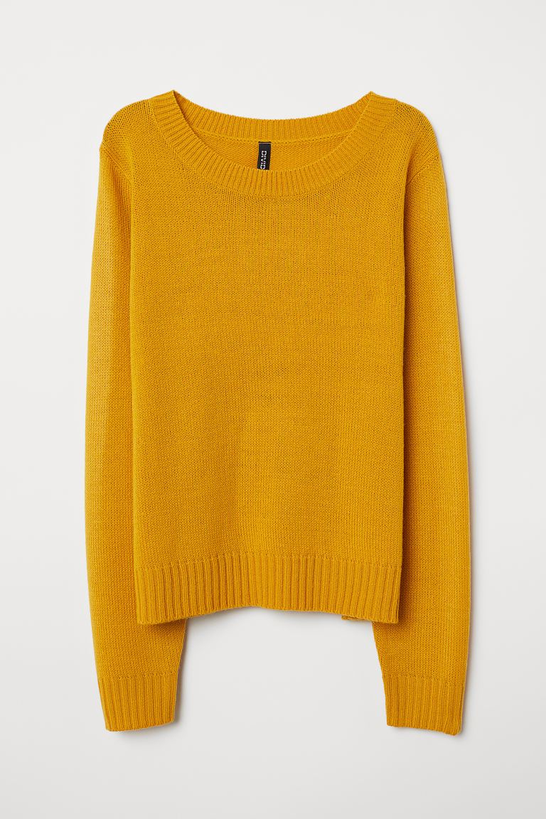 Knit Sweater - Mustard yellow - Ladies | H&M US