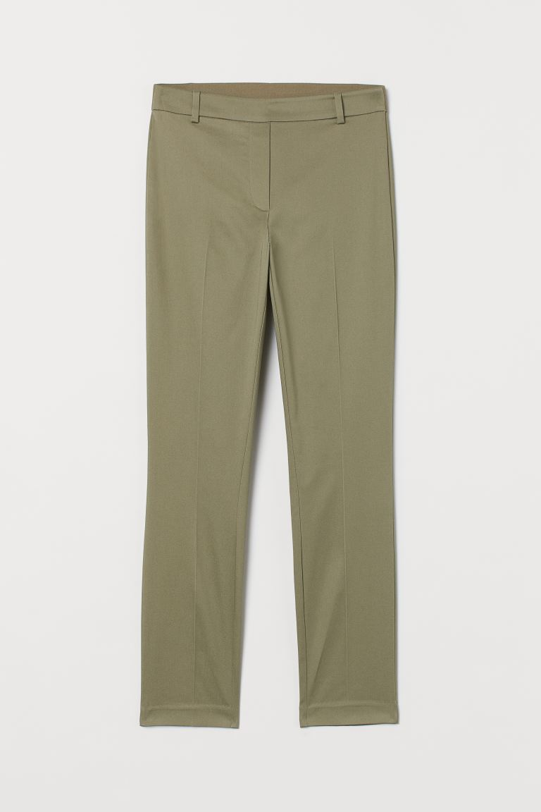 Ankle-length trousers - Khaki green - Ladies | H&M GB