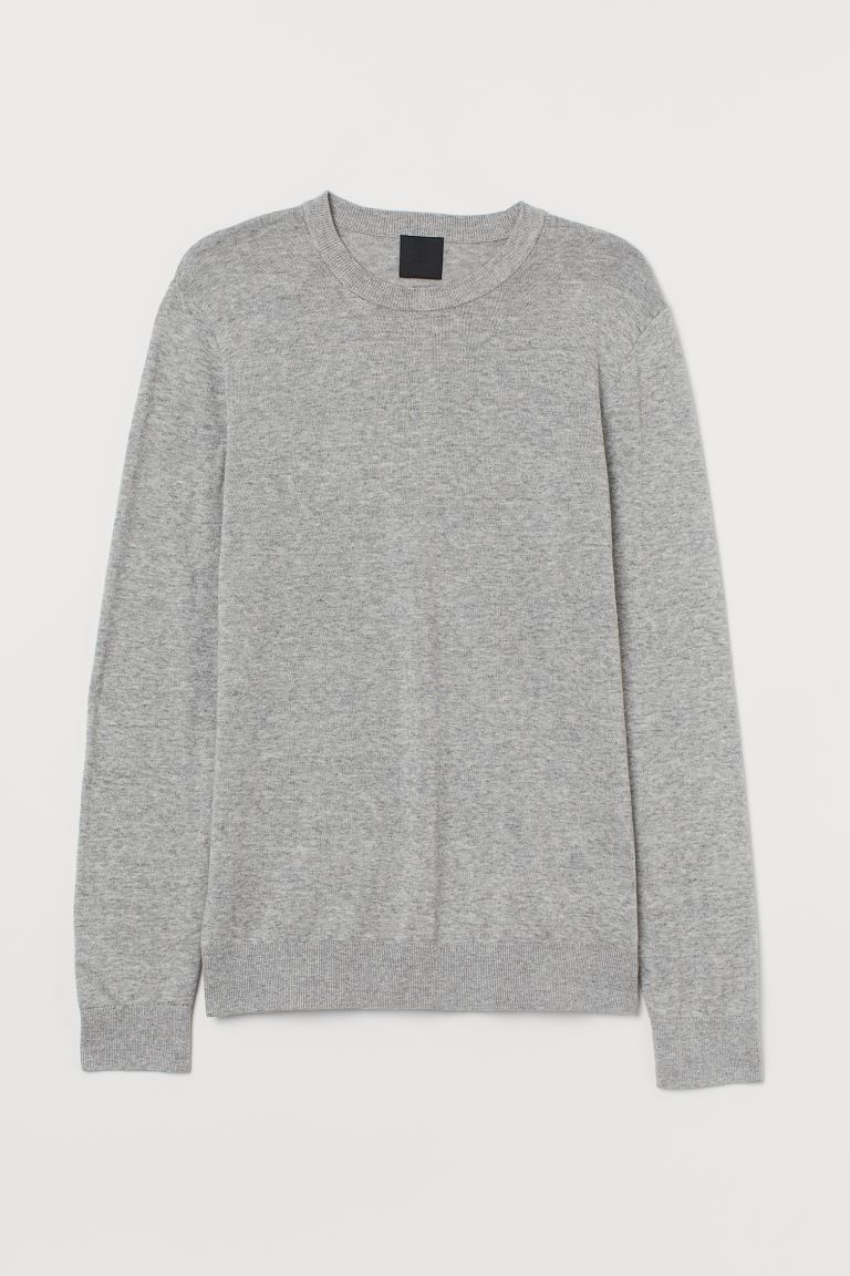 Fine-knit jumper - Grey marl - Men | H&M